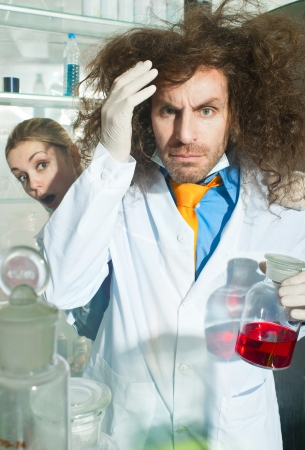 Bizarre chemist in a laboratory photo