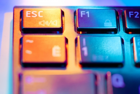 Closeup of a computer keyboard with beautiful lighting photo