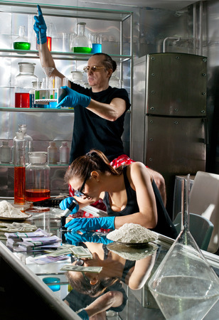 manufacturers: Drug manufacturers in the chemistry lab Stock Photo