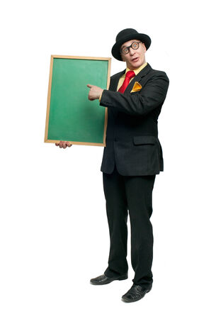 Cheerful man in a black suit with a blackboard photo