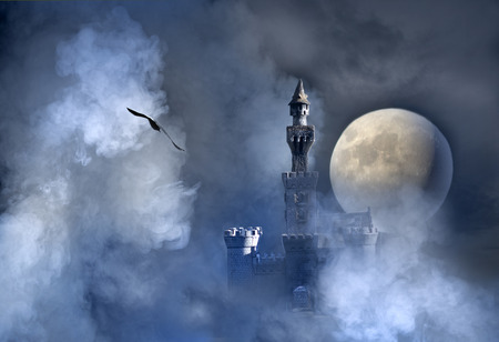 horror castle: Old fantasy castle in the clouds