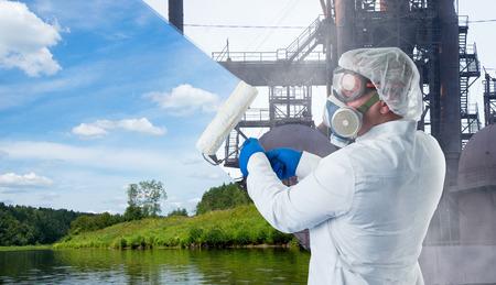 medio ambiente: Un ecologista se opone a la contaminación ambiental