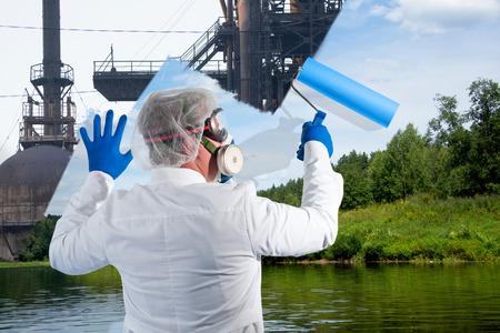 environmentalist: Environmentalist an opposes of environmental pollution Stock Photo