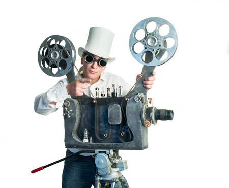 Cameraman with with a film projection photo