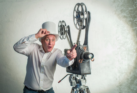 cameraman: Cameraman with with a film projection