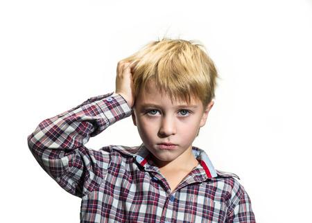 sad boy: Portrait of sad boy on a white background Stock Photo