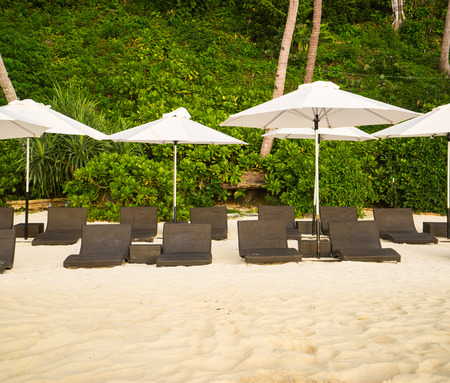 parasols: The loungers and parasols on the beach