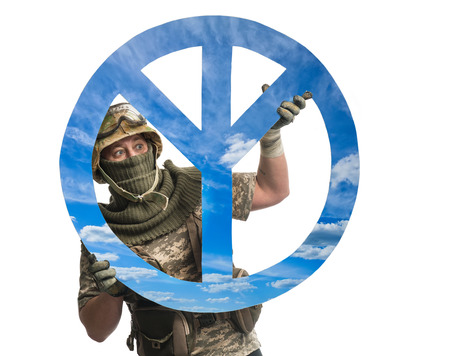 pacifism: Soldier with a symbol of pacifism