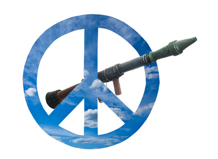 forbidden love: Peace symbols and weapon on the white background