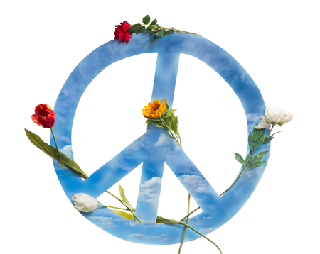 pacifism: Peace symbols and weapon on the white background