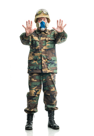 respirator: Soldier in camouflage and a respirator