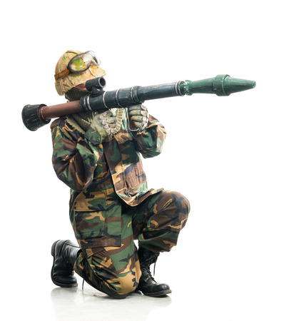 rifleman: Soldier in camouflage with a weapon