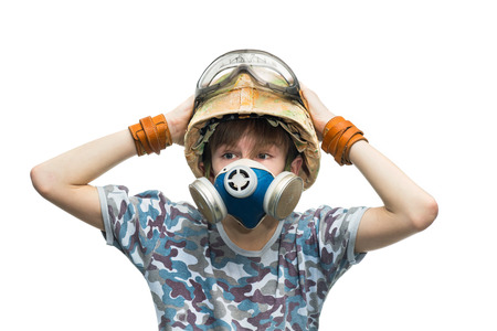respirator: Little soldier in helmet and a respirator