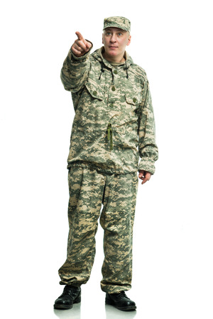 guerrilla warfare: Soldier in camouflage on the white background