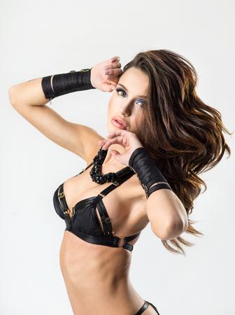 nude female body model: Portrait of a sexy woman in a black lingerie