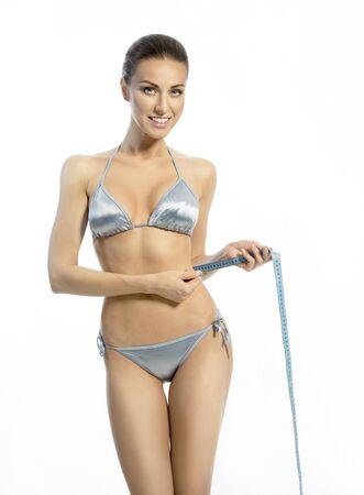 junge nackte m�dchen: D�nne Frau in einem blauen Dessous mit einem Band-Linie auf der schmalen Taille