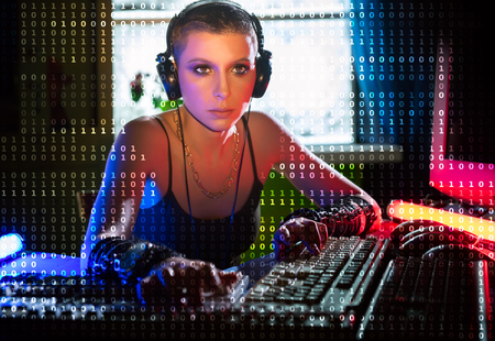 Female hacker working on a code with digital interface around Banco de Imagens