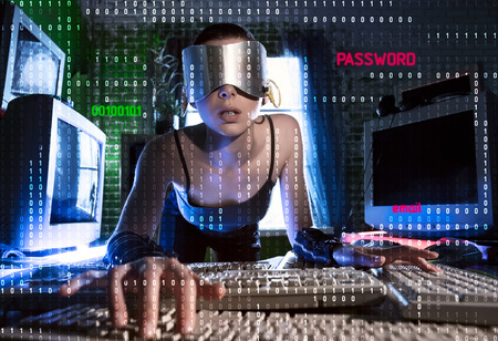 Masked hacker working on a code with digital interface around