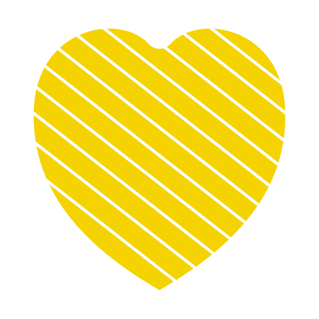 Valentine heart simbol. heart yellow colour on white background