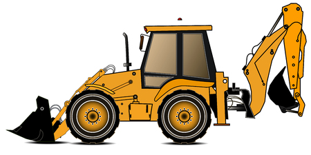 Yellow backhoe loader on a white background, Construction machinery, Special equipment. Vector illustration.