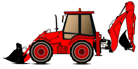 Red backhoe loader on a white background. Construction machinery. Special equipment. Vector illustration Illustration