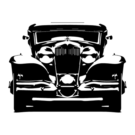 Vector hi-detailed silhouette retro styled hotrod isolated on white background.