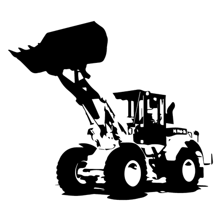Front loader black color on white background icon illustration.