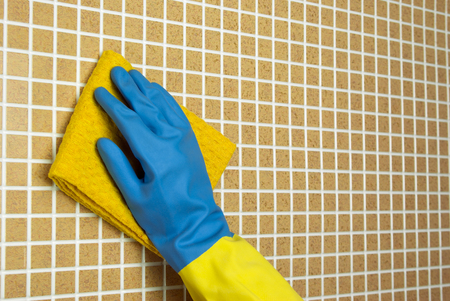 yellow Duster and blue cloth with yellow glove on brown cells