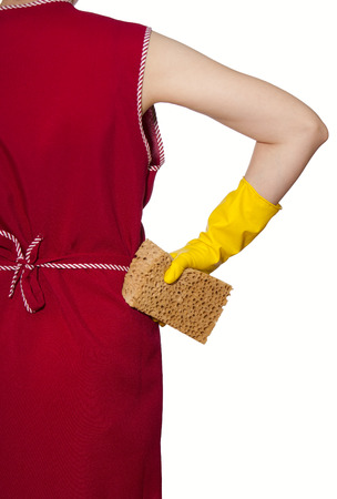smock: female torso in a red smock hand in yellow glove with sponge on a white background