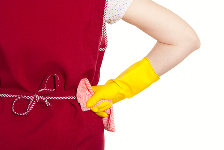 smock: female torso in a red smock hand in yellow glove with pink cloth on a white background