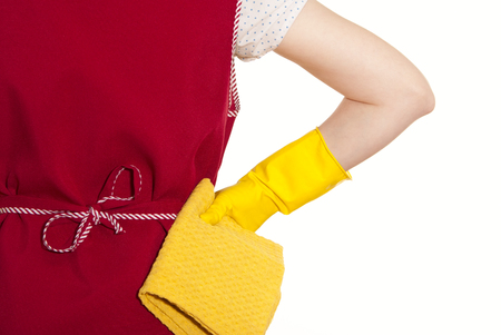 smock: female torso in a red smock hand in yellow glove with a yellow cloth on a white background