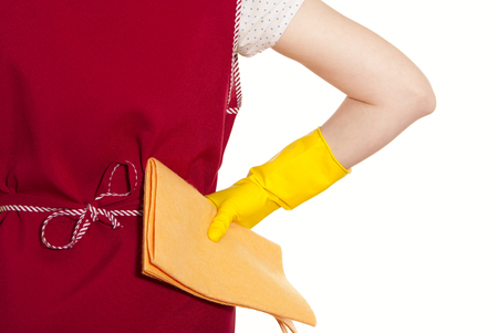 smock: female torso in a red smock hand in yellow glove with an orange cloth a white background