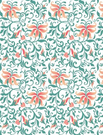Seamless pattern and lily petals Illustration