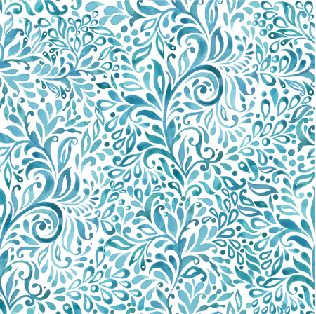 Marine pattern background. With plant elements