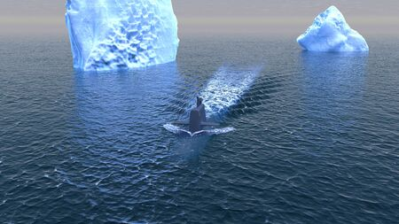 recon: Computer generated submarine travelling on the surface of the Arctic ocean