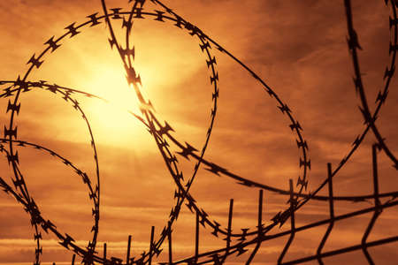 incarcerated: Close-up view of a barbed wire Stock Photo