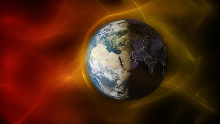 3d illustration of solar wind colliding with earths magnetic field