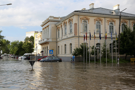 TULCEA, ROMANIA - JULY 15: European city flooded during a heavy rain on July 15, 2017 in Tulcea, Romania