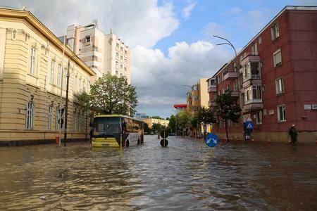 TULCEA, ROMANIA - JULY 15: European city flooded during a heavy rain on July 15, 2017 in Tulcea, Romania
