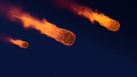 3D illustration of a meteor shower - burning up in the earths atmosphere with a starry sky in the background Stock Photo