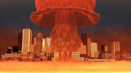 holocaust: 3D Illustration of a nuclear explosion over a large city