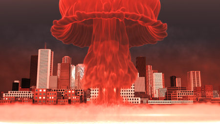 3D Illustration of a nuclear explosion over a large city