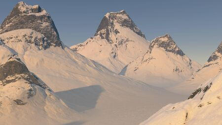 3D Illustration of snow covered mountain peaks