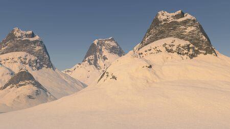 3D illustratie van besneeuwde bergtoppen Stockfoto