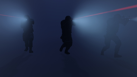 3d illustration of a swat team in action with the flashlights and laser sights on