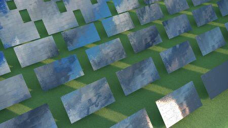 Illustrazione 3d dei pannelli solari sul campo verde Archivio Fotografico - 91529236