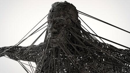 3d illustratie van het donkere karakterconcept beeldhouwen