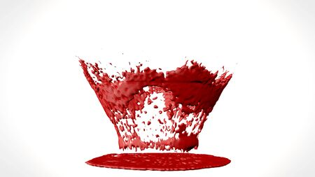 3d illustration of blood or paint splatter drop isolated on white background
