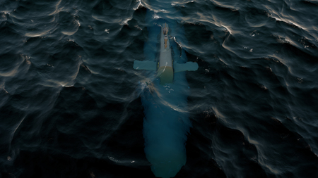 3D Illustration of a submarine patrolling just below the waters surface at periscope depth