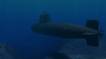 3D Illustration of a submarine patrolling close to the ocean floor Stock Photo